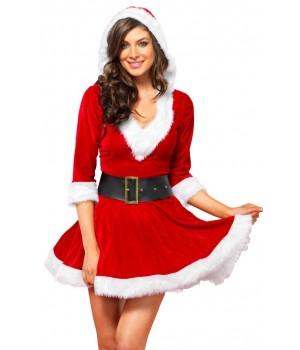 Mrs Claus Velvet Hooded Christmas Dress - Small/Medium Cosplay Costume Closet Halloween Shop Halloween Cosplay Costumes | Kids, Adult & Plus Size Halloween Costumes
