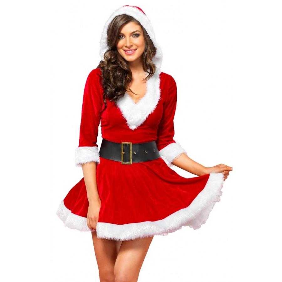 Mrs Claus Velvet Hooded Christmas Dress | Holiday Dress