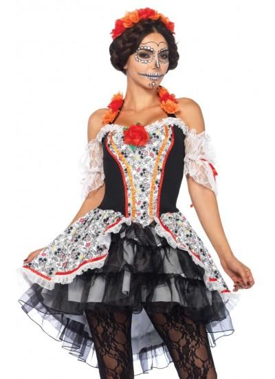 Lovely Calavera Sugar Skull Womens Costume at Cosplay Costume Closet Halloween Shop, Halloween Cosplay Costumes | Kids, Adult & Plus Size Halloween Costumes