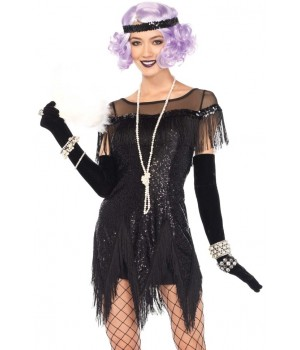Foxtrot Flirt Roaring 20s Black Flapper Dress Costume Cosplay Costume Closet Halloween Shop Halloween Cosplay Costumes | Kids, Adult & Plus Size Halloween Costumes