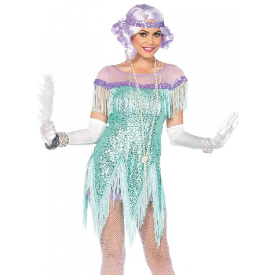 Foxtrot Flirt Roaring 20s Green Flapper Dress Costume Halloween