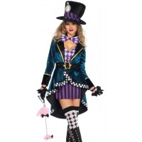 Delightfully Mad Hatter Womens Wonderland Costume