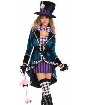 Delightfully Mad Hatter Womens Wonderland Costume Cosplay Costume Closet Halloween Shop Halloween Cosplay Costumes | Kids, Adult & Plus Size Halloween Costumes