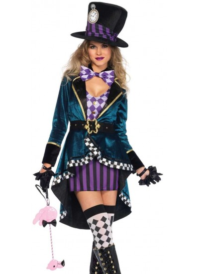 Delightfully Mad Hatter Womens Wonderland Costume at Cosplay Costume Closet Halloween Shop, Halloween Cosplay Costumes | Kids, Adult & Plus Size Halloween Costumes