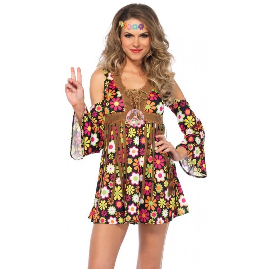 Starflower Hippie Womens Halloween Costume  sc 1 st  Cosplay Costume Closet & Starflower Hippie Girl Adult Halloween Costume | 60s Halloween Costume