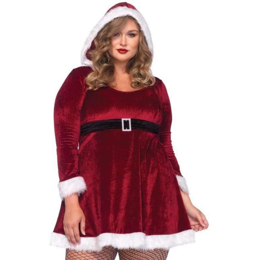 Mrs Santa Plus Size Red Fleece Holiday Dress - 1X/2X