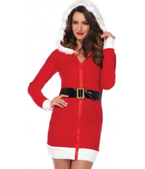Cozy Mrs Santa Red Fleece Holiday Dress Cosplay Costume Closet Halloween Shop Halloween Cosplay Costumes | Kids, Adult & Plus Size Halloween Costumes