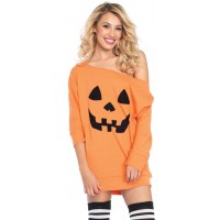 Pumpkin Jersey Off the Shoulder Tunic Dress