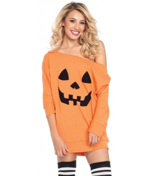 Pumpkin Jersey Off the Shoulder Tunic Dress Cosplay Costume Closet Halloween Shop Halloween Cosplay Costumes | Kids, Adult & Plus Size Halloween Costumes