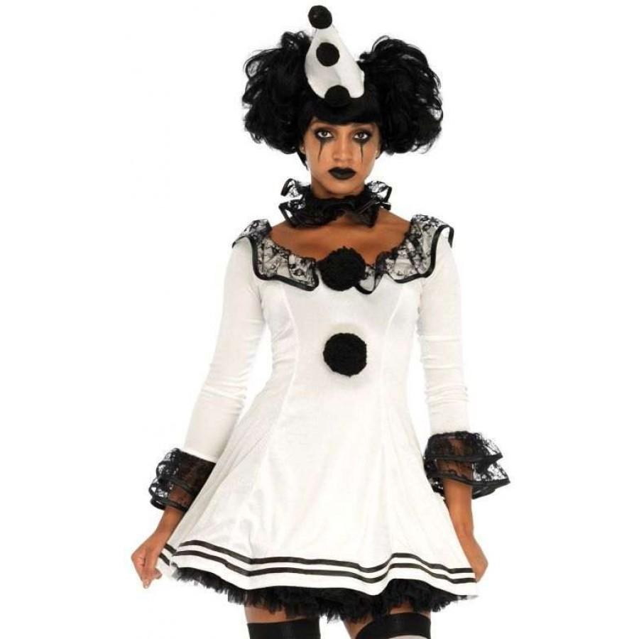 Pierrot Clown Womens Halloween Costume at Cosplay Costume Closet Halloween Cosplay Costumes | Kids  sc 1 st  Cosplay Costume Closet & Pierrot Clown Womens Halloween Costume | Adult Clown Costume