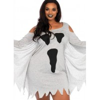 Ghost Print Jersey Plus Size Dress