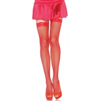 Fishnet Garter Stockings with Lace Top - Red