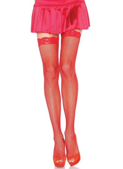 Fishnet Garter Stockings with Lace Top - Red at Cosplay Costume Closet Halloween Shop, Halloween Cosplay Costumes | Kids, Adult & Plus Size Halloween Costumes