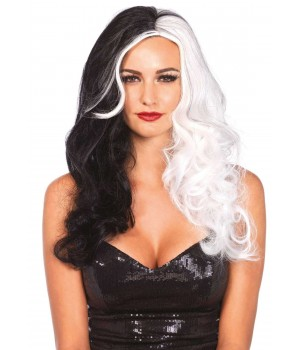Cruella 2 Tone Long Costume Wig