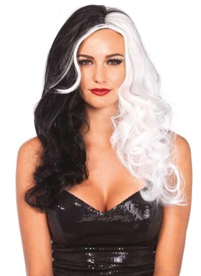 Cruella 2 Tone Long Costume Wig at Cosplay Costume Closet Halloween Shop, Halloween Cosplay Costumes   Kids, Adult & Plus Size Halloween Costumes
