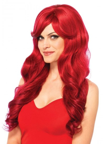 Extra Long Red Wavy Wig at Cosplay Costume Closet Halloween Shop, Halloween Cosplay Costumes | Kids, Adult & Plus Size Halloween Costumes