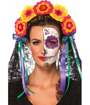 Day of the Dead Flower Headband Cosplay Costume Closet Halloween Shop Halloween Cosplay Costumes | Kids, Adult & Plus Size Halloween Costumes
