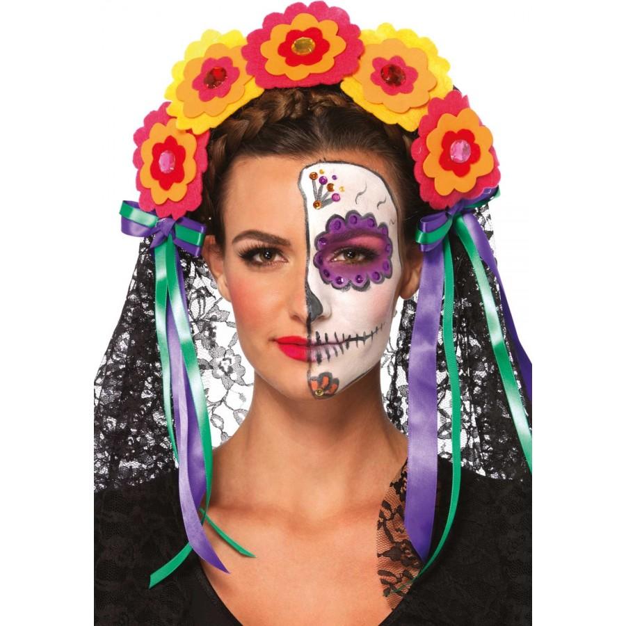 day of the dead flower headband   halloween hat