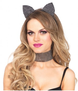 Rhinestone Cat Ear Headband with Choker Set Cosplay Costume Closet Halloween Shop Halloween Cosplay Costumes | Kids, Adult & Plus Size Halloween Costumes