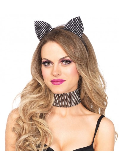 Rhinestone Cat Ear Headband with Choker Set at Cosplay Costume Closet Halloween Costume Shop, Halloween Cosplay Costumes | Kids, Adult & Plus Size Halloween Costumes