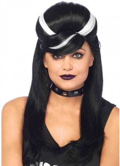 Frankie Bouffant Long Black Gothic Costume Wig at Cosplay Costume Closet Halloween Shop, Halloween Cosplay Costumes | Kids, Adult & Plus Size Halloween Costumes