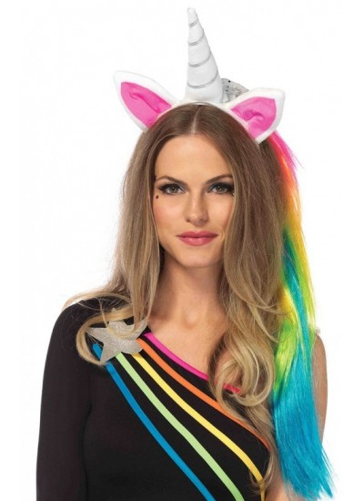 Unicorn Headband with Mane at Cosplay Costume Closet Halloween Shop, Halloween Cosplay Costumes | Kids, Adult & Plus Size Halloween Costumes