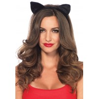 Black Velvet Cat Ear Headband