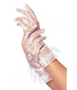 White Ruffled Lace Wrist Length Gloves Cosplay Costume Closet Halloween Shop Halloween Cosplay Costumes | Kids, Adult & Plus Size Halloween Costumes