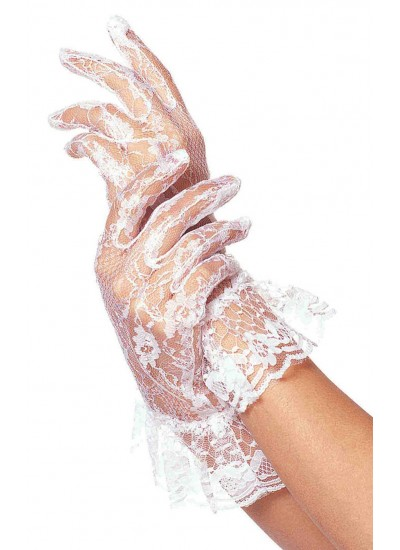 White Ruffled Lace Wrist Length Gloves at Cosplay Costume Closet Halloween Shop, Halloween Cosplay Costumes | Kids, Adult & Plus Size Halloween Costumes