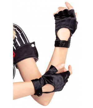 Fingerless Black Snap Satin Gloves Cosplay Costume Closet Halloween Shop Halloween Cosplay Costumes | Kids, Adult & Plus Size Halloween Costumes