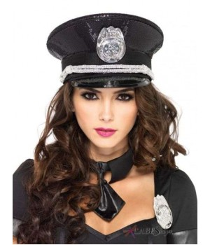 Black Sequin Cop Costume Hat