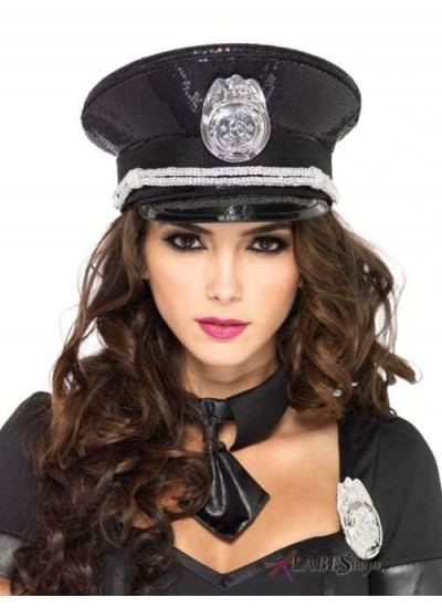 Black Sequin Cop Costume Hat at Cosplay Costume Closet Halloween Shop, Halloween Cosplay Costumes | Kids, Adult & Plus Size Halloween Costumes
