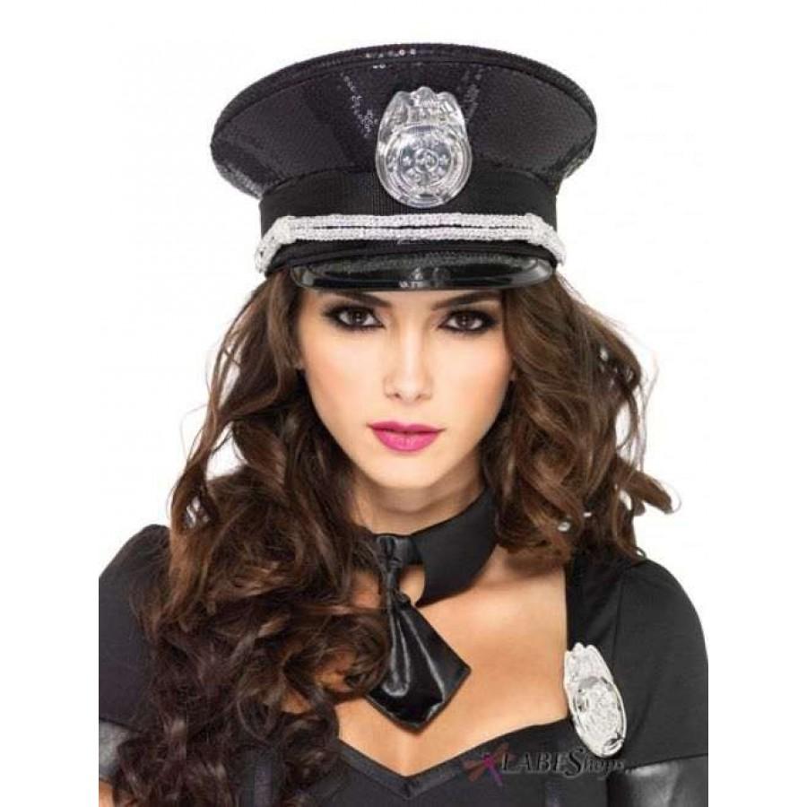 Black Sequin Cop Costume Hat