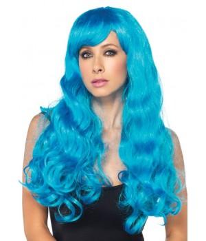 Neon Blue Long Wavy Wig
