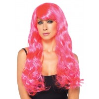 Neon Pink Long Wavy Wig