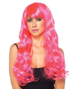 Neon Pink Long Wavy Wig Cosplay Costume Closet Halloween Shop Halloween Cosplay Costumes | Kids, Adult & Plus Size Halloween Costumes