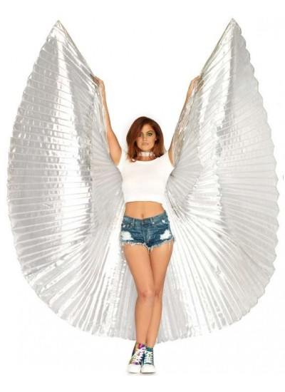 Isis Silver Pleated Festival Wings at Cosplay Costume Closet Halloween Shop, Halloween Cosplay Costumes | Kids, Adult & Plus Size Halloween Costumes