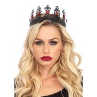 Jeweled Black Filigree Metal Crown