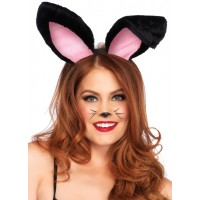 Plush Bunny Ears in Black or White