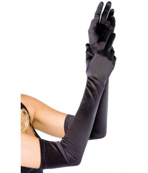 Satin Extra Long Black Opera Gloves Cosplay Costume Closet Halloween Shop Halloween Cosplay Costumes | Kids, Adult & Plus Size Halloween Costumes
