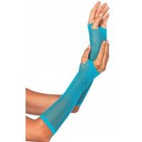 Neon Blue Triangle Net Fingerless Gloves