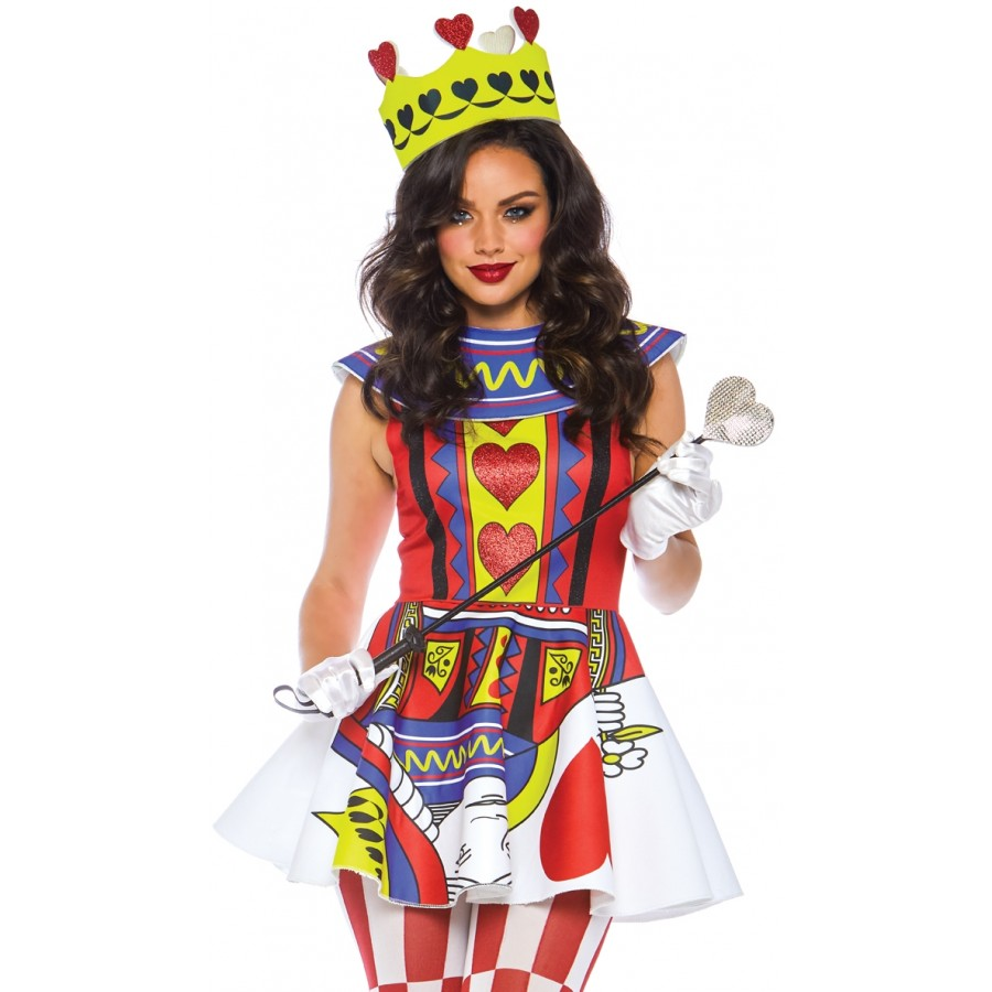 card queen 3 piece womens halloween costume queen hearts
