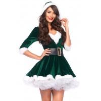 Mrs Claus Green Velvet Hooded Christmas Dress