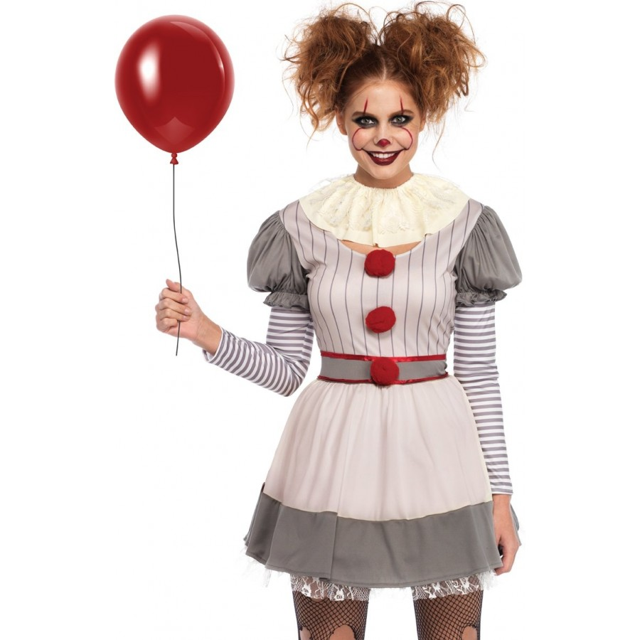 creepy clown womes halloween costume - adult costume