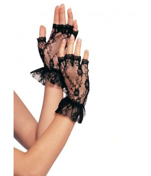 Ruffled Lace Wrist Length Fingerless Gloves Cosplay Costume Closet Halloween Shop Halloween Cosplay Costumes | Kids, Adult & Plus Size Halloween Costumes
