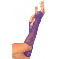 Neon Purple Triangle Net Fingerless Gloves