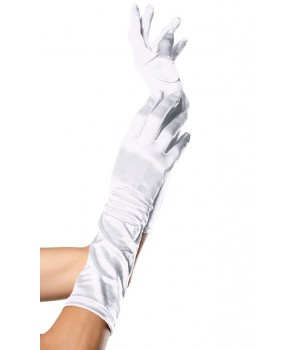 White Satin Elbow Length Gloves Cosplay Costume Closet Halloween Shop Halloween Cosplay Costumes | Kids, Adult & Plus Size Halloween Costumes