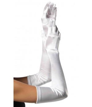 Satin Extra Long White Bridal Opera Gloves Cosplay Costume Closet Halloween Shop Halloween Cosplay Costumes | Kids, Adult & Plus Size Halloween Costumes