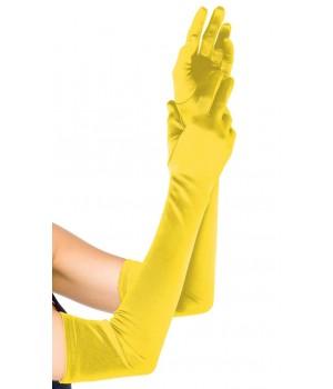 Yellow Satin Extra Long Opera Gloves Cosplay Costume Closet Halloween Shop Halloween Cosplay Costumes | Kids, Adult & Plus Size Halloween Costumes