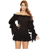 Ruffled Black Gothic Pirate Dress